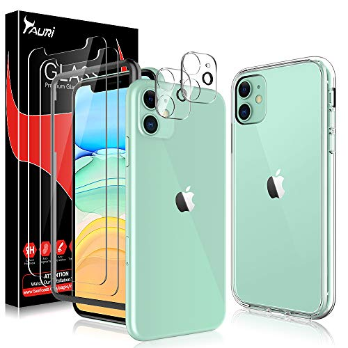 TAURI 2 Pack Screen Protector + 2 Pack Camera Lens Protector + Acrylic Case for iPhone 11 6.1-inch, [Tempered Glass] [Shock Absorption] [Triple Protection], HD Clarity, Anti Scratch - Clear