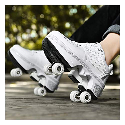 YXIAOL Roller Skates, Skating-Schuhe Für Männer Und Frauen Automatische Wanderschuhe Für Erwachsene Unsichtbare Riemenscheibenschuhe Skates Mit Zweireihigem Deform-Rad,White-36