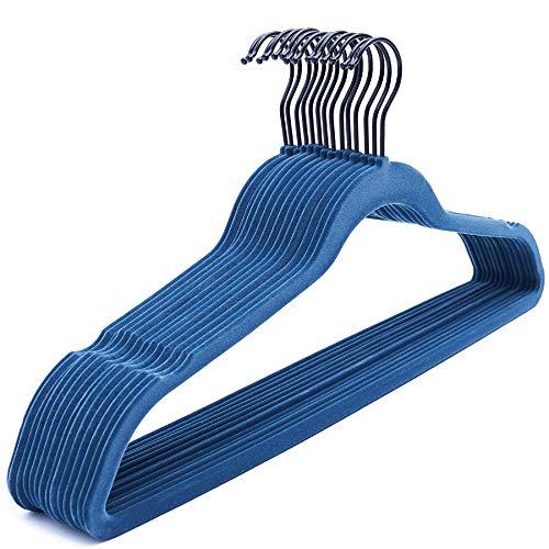 NesTidy Velvet Hangers 60 Pack 175 Non-Slip Felt Hangers with Black Hook Space Saving Clothes Hangers Flocked Hangers for Coats Sweaters Jackets Pants Dress ClothesNavy