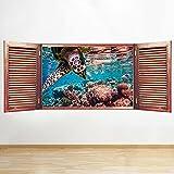 S651 acuario peces tortuga mar ventana pared calcomanía 3D arte pegatina vinilo habitación