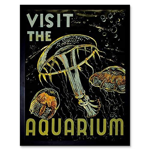 Wee Blauwe Coo Advert Tentoonstelling Bezoek Aquarium Marine Wezens Jellyfish Bubbles Art Print Ingelijste Poster Muurdecoratie 12X16 Inch