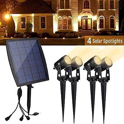 DINGLILIGHTING Solar Spot Lights Outdoor, LED Solar Landscape Spotlights 4 Lights, Waterproof Wireless Security Wall Lamp for Garden, Yard, Porch, Pathways, Entryways, Garages Warm Light
