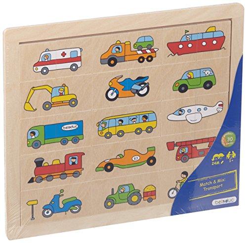 Beleduc - 11007 - Puzzle en Bois - Match Et Mix - Transport