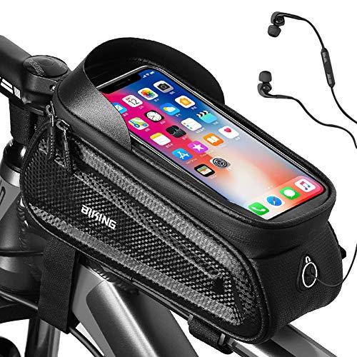 YRXWAN Borsa per Bicicletta Borsa per Telaio Anteriore Impermeabile Touch Screen sensibile Tubo Superiore Borsa per Telefono da 6,7 Pollici Accessori per Bici da Strada MTB,Nero