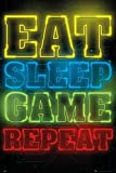 Close Up Gaming Poster Eat Sleep Game Repeat (61cm x