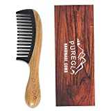 Wide Tooth Hair Comb [Gift Box] – pureGLO No Static Detangling Wooden Combs - Natural Aroma Green Sandalwood Buffalo Horn Detangler Comb for Men Women and Kids