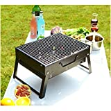 HTTMT- Outdoor Campling Foldable Compact Barbecue BBQ Grill Charcoal Stove Shish Kabob Tabletop For Outdoor Camping Picnic Travel Cooker (2 Sizes Available) [P/N: ET-COOK007-BK]