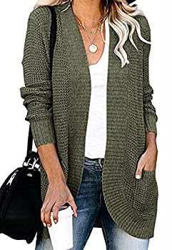 MEROKEETY Womens Long Sleeve Open Front Cardigans Chunky Knit Draped Sweaters Outwear with Pockets Green