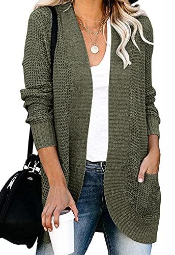 MEROKEETY Womens Long Sleeve Open Front Cardigans Chunky Knit Draped Sweaters Outwear Green