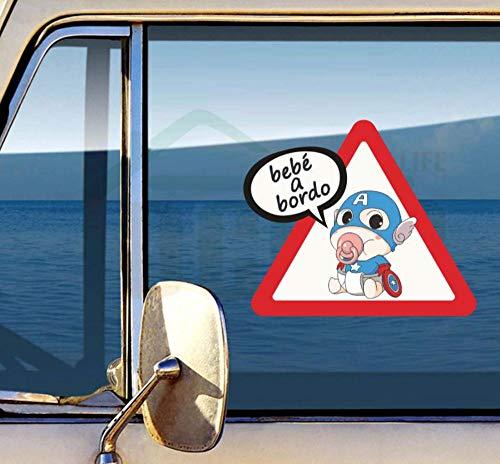 YUNZHIFU leuke cartoon kleine superheld kinderwagen vorm reflecterende auto sticker staart waarschuwingsteken kleur aftrekbeeld decoratie 18 x 21 cm