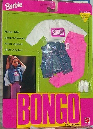Barbie Bongo Fashions - Camisa con logotipo de Bongo, pantalones, chaleco de chaqueta Jean y zapatillas(1992)