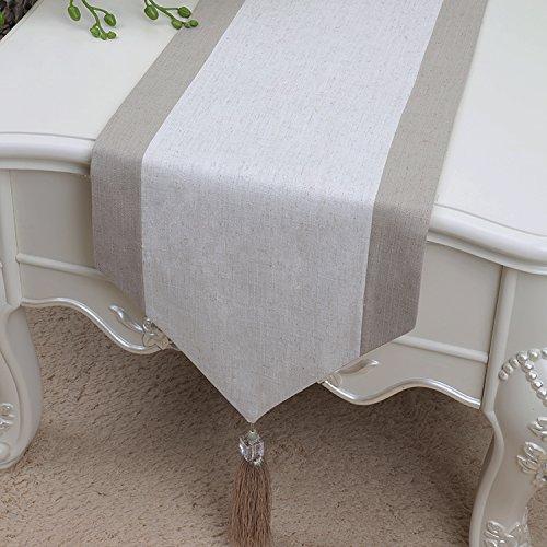RYC - Camino de mesa de lino, de calidad, decoración artística moderna, lino, Lin-009, 33*150cm