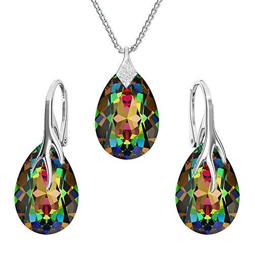 Juego de joyas de plata de ley 925 con cristales de Swarovski® – garra pera – muchos colores – pendientes para mujer – collar con colgante – joyas para mujer con caja de regalo