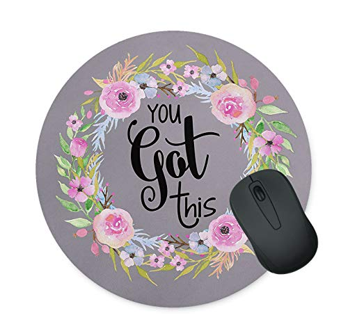 Floral Mouse Pad Neoprene Round Mouse Pad Office Computer Mouse Pad