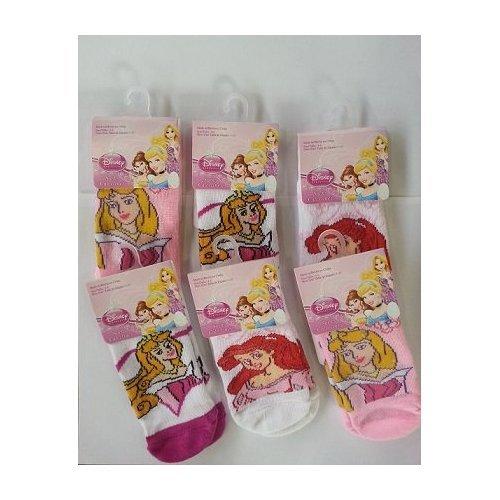 6 Pair Disney Princess Anklet Socks Size 6-8 1/2