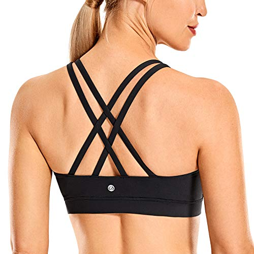 CRZ YOGA Women's Fitness Workout Yoga Bra Strappy Sports Bras Black-Logo Small