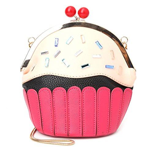 SimpleLife Damen Exquisite Handtasche, Mädchen Cupcake aus weichem Leder Umhängetasche Schultertasche Kleine Geldbörse