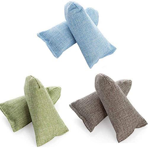 Bolsas de carbón de bambú HomeFairy, bolsas purificadoras de aire natural (6 x 80g), desodorizante y eliminador de olores para zapatos, bolsa de gimnasio, equipaje, oficina, coches y zonas de mascotas