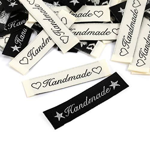 100 Stück Handmade Stoffetiketten Textiletiketten Handmade Stoff Labels Tags Kleideretiketten Handmade Etiketten Nähen DIY Dekor
