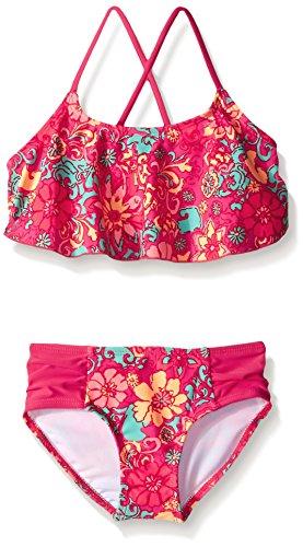 Kanu Surf Girls' Big Flounce Bikini Beach Sport 2-Piece Swimsuit, Karlie Floral Pink, 14