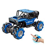 ErYao Gesture Sensing Drift Twisting RC Stunt Car, Remote Control Stunt Car, Gesture Induction Twisting Off-Road Vehicle Light Music Drift Traverse Remote Control Dancing Side Driving Toy Cars (Blue)