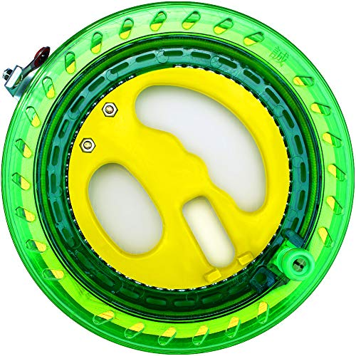 HENGDA KITE Professional Outdoor Kite Line Winder Winding Reel Grip Wheel with 650 Feet (60LBS) Flying Line String Flying Tools with Lock for Kids and Adults (Green, 7.2 Inch)