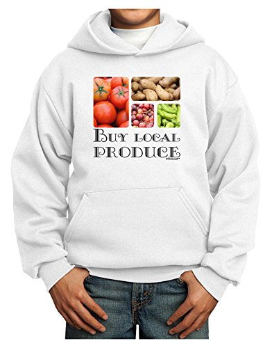 TOOLOUD Buy Local Produce Text Youth Hoodie White Large