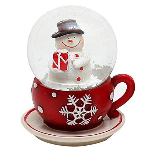 Dekohelden24 Schneekugel Schneemann in Tasse, Maße H/B/Ø Kugel: 7 x 6 cm Ø 4,5 cm.
