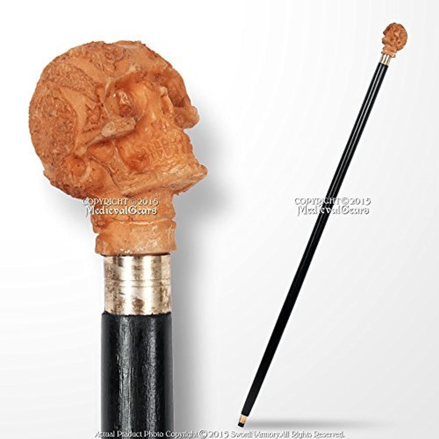 Medieval Gears Brand 36 Black Solid Wooden Shaft Walking Cane Fantasy Stick with Skull Head Handle by Medieval Gears