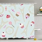 N\A Ahawoso Duschvorhang Set mit Haken Cupcake Cute Fashion Vintage Muster Architektur Eiffel Cupcakes Schrott Texturen Hochzeitsreise oder wasserdichtes Polyestergewebe Bad Dekor für Badezimmer