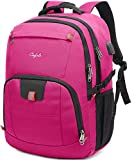 CAFELE 17.3Inch Large Laptop Backpack for Teenager Travel School Work w/USB Charging Port Women,Pink