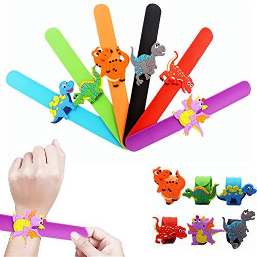 SUSHAFEN 6Pcs Dinosaur Slap Bracelet Silicone Wristbands Slap Bands Novelty Toy School Prize Gifts Children Goodie Bag Filler Dinosaur Party Supplies Kids Party Favors