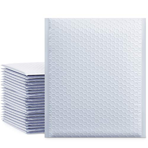 UCGOU 8.5x12 Inch White Padded Envelopes Water Proof Poly Bubble Mailers Self Seal Mailing Envelopes Book Mailers 25pcs