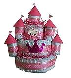 Castillo de pañales Rosa, 120 pañales Dodot, tarta de pañales ideal como...