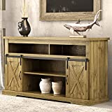 Amolife 52' Farmhouse TV Stand with Sliding Barn Doors, Wood Entertainment Center with Storage Cabinets for 55'' TVs with 3 Adjustable Shelves, TV Cabinet for Living Room, Rustic Wood