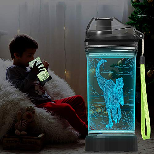 Lightzz - Botella de agua para niños, taza brillante 3D con ilusión de dinosaurio, luz LED con 7 colores cambiantes de luz, sin tritan de 14 oz, sin BPA, idea creativa, regalo de raptor para niño