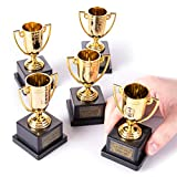 Halloween Costume Contest Trophies, 5-Pack – Customizable Party Awards with 24 Stickers with Categories & Poses - Fun Awards for Home, Work, School & Bar Costume Parties Supplies, Games & Decorations