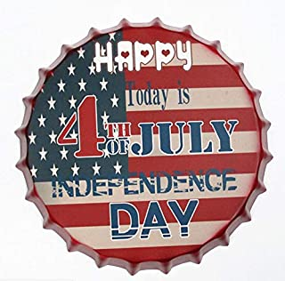 2but 4TH of July Independence Decorative Bottle Caps Metal Tin Signs Cafe Beer Bar Decoration Plat 13.8
