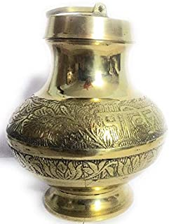 World Cloud || Brass Pavitra Gangajali Lota, Kalash for Gangajal Water Perfect Holding || Jal Carry Pouch | Large Size | 1...