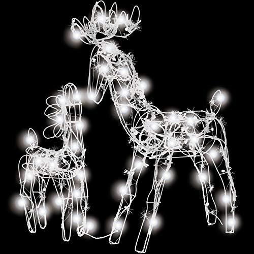TecTake LED Iluminación navideña de Exterior Renos decoración jardín casa luz Navidad