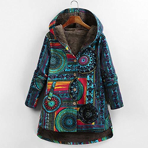 KULIXI Damen Herbst Jacke Frauen Windbreaker Leder Jacke Mantel Blumendruck Kapuzen Taschen Vintage Mäntel-6 Blau_XXL