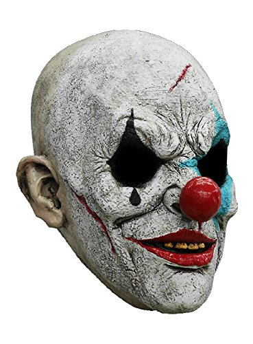 Horror Clown Maske des Grauens aus Latex - Erwachsenen Grusel Clown Kostüm Vollmaske - ideal für Halloween, Karneval, Motto- & Grusel-Party