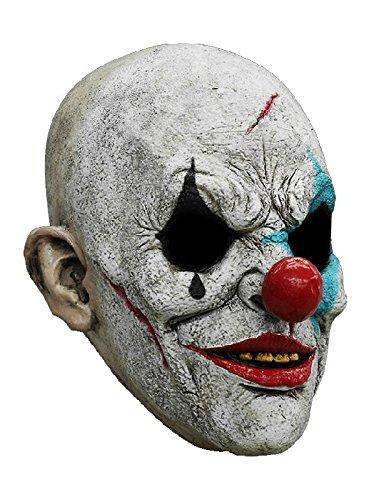Horror Clown Maske des Grauens aus Latex - Erwachsenen Grusel Clown Kostüm Vollmaske - ideal für Halloween, Karneval, Motto- & Grusel-Party