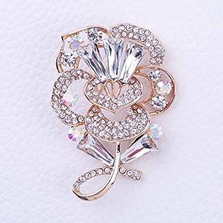 CBCJU Broche con Forma de Hoja de Flores de Estilo Europeo Flor de Diamante de Alto Grado Boutonniere 5.2 * 3.5cm