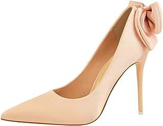 [ファッション メーカ] パンプス レディース ポインテッドトゥ リボン付き ハイヒール シンプル 美脚 大きいサイズ