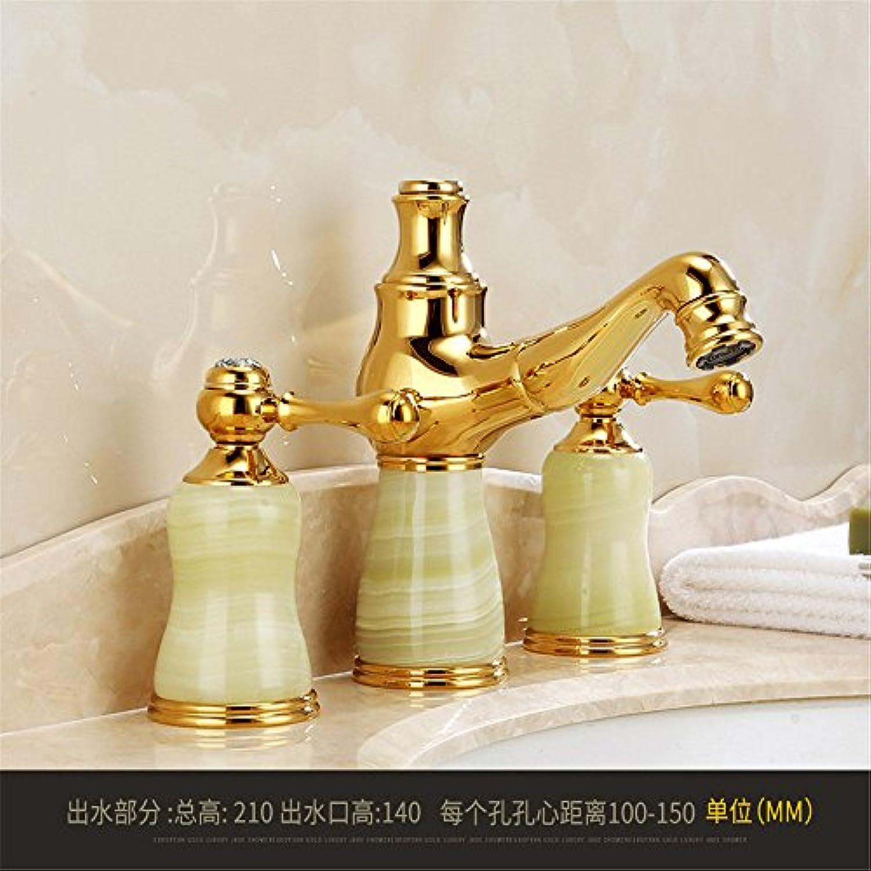 MulFaucet wasserhahn armatur hahn Wasserleitung Faucet Alles Kupfer drei Lcher hei und kalt gespalten Waschbecken mit Golddüse F