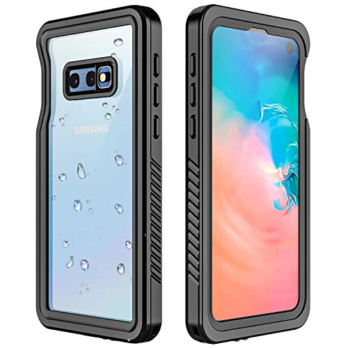 Redpepper Galaxy S10E Waterproof Case, Protective Clear Cover with Built-in Screen Protector,Support Wireless Charging IP68 Waterproof Shockproof Case for Samsung Galaxy S10E (Black/Clear)
