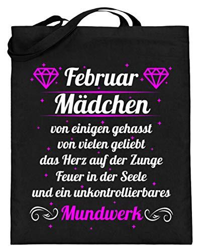 Shirtee - Bolsa de yute para regalo de cumpleaños para niña en febrero (con asas largas), color Negro, talla 38cm-42cm