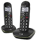 Doro PhoneEasy 110 Telefono Cordless con Tasti Grandi e Audio Amplificato (X 2 / Nero)