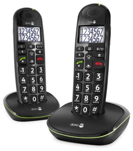 Doro PhoneEasy 110 Duo Teléfono Inalámbrico DECT para Personas Mayores con Teclas Grandes Parlantes, Función de Llamada Interna y Audio Amplificado [Versión Española y Portuguesa] (X 2 / Negro)